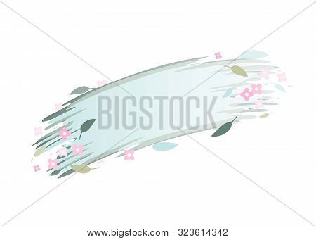 Spring Banner With Flowers And Leaves. Isolated Vector Image.eps 10