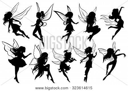 Set Of Fairies. Collection Of Girls Fairy Silhouettes. Black White Vector Illustration For Children.
