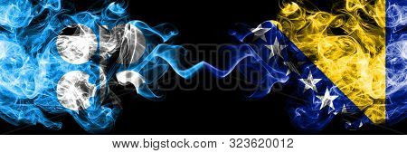 Opec Vs Bosnia And Herzegovina, Bosnian Abstract Smoky Mystic Flags Placed Side By Side. Thick Color