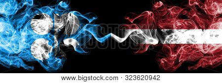 Opec Vs Latvia, Latvian Abstract Smoky Mystic Flags Placed Side By Side. Thick Colored Silky Smoke F