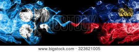 Opec Vs Liechtenstein, Liechtensteins Abstract Smoky Mystic Flags Placed Side By Side. Thick Colored