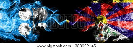 Opec Vs Tibet, Tibetan Abstract Smoky Mystic Flags Placed Side By Side. Thick Colored Silky Smoke Fl