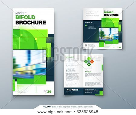 Green Bi Fold Brochure Design With Square Shapes. Corporate Business Template For Bi Fold Flyer. Cre