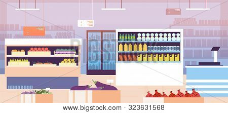 Supermarket Interior. Empty Shopping Retail Hall With Food On Shelves And Refrigerator. Consumerism