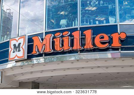 Wolfsburg, Germany - June 8, 2019: Muller Sing On Storefront In Wolfsburg.