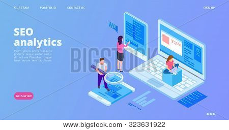 Seo Analytics Landing Page. Isometric Seo Optimization Vector Concept. Analyst Service Web Page Temp