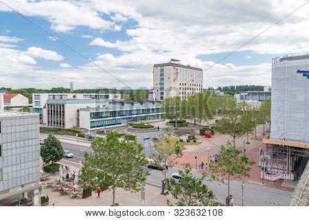 Wolfsburg, Germany - June 8, 2019: Panoramic View With Market Square In Wolfsburg.