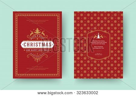 Christmas Greeting Card Vintage Typographic Design, Ornate Decorations With Symbols, Winter Holidays