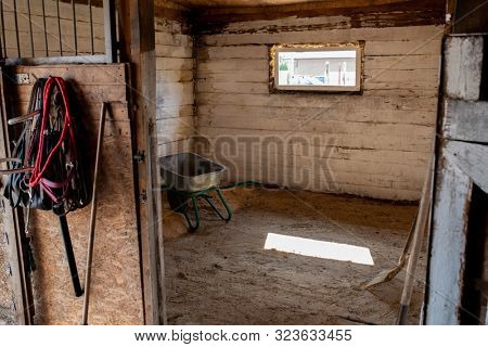 Empty stable for racehorses with small window, worktools and cart that you can see in the open door