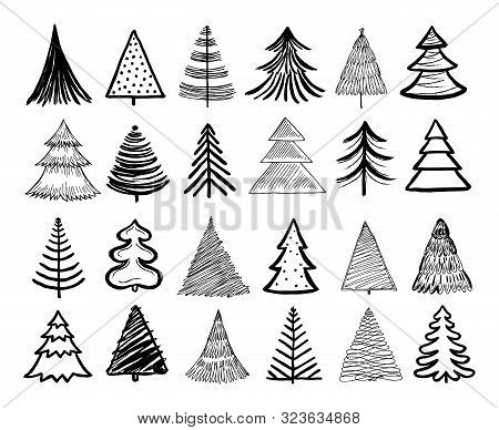 Doodle Christmas Tree. Winter Holiday Hand Drawn Elements. Retro Xmas Trees And Happy New Year Sketc