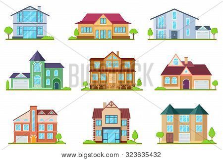 Flat Cottages. Modern Cottage Houses Suburban Property. Buildings Design For App Interface. Architec