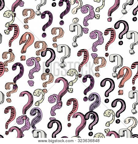 Seamless Pattern With Hand Drawn Question Mark. Cartoon Question Marks In Grunge Texture Style. Vect