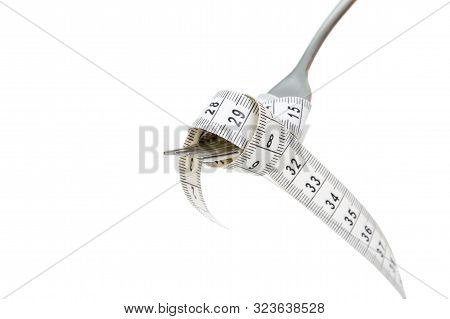Diet And Wweight Loss Concept, Fork And Measuring Tape