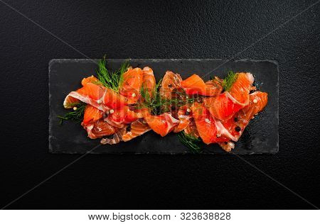Top View Of A Nordic Dish Gravlax Or Gravlaks