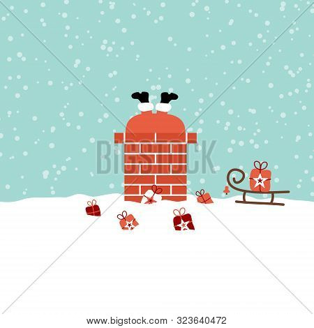 Santa Stucks In Chimney On Roof Snow Turquoise