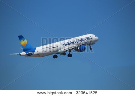 Corfu, Greece - June 6, 2016: Thomas Cook Airline Airbus A321 Taking Off In Greece. Thomas Cook Grou