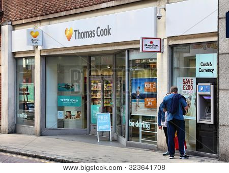 Leeds, Uk - July 12, 2016: Thomas Cook Travel Agent In Leeds, Uk. Thomas Cook Group Is A Global Vaca