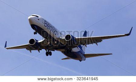 Borispol, Ukraine - June 21, 2019: Ew-527pa Belavia Boeing 737-82r(wl) Aircraft On The Blue Sky Back
