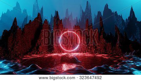 Sci Fi Alien Planet Landscape Futuristic Rock Surreal Lighting Space Travel Glow Ring Red Neon Light
