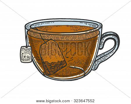 Cup Of Tea With Tea Bag Sketch Engraving Vector Illustration. Scratch Board Style Imitation. Black A