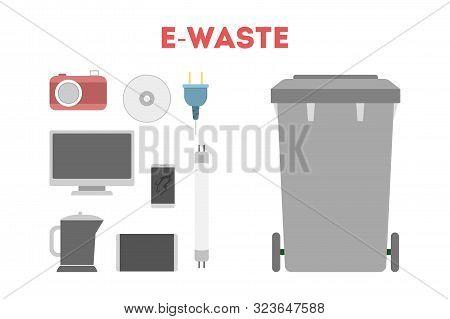 E-waste Concept. Idea Of Electronic Trash, Computer And