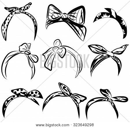 Set Retro Headband For Woman. Collection Of Bandanas For Hairstyles. Black And White Windy Hair Dres