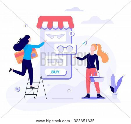 Online Shopping Web Banner Concept. E-commerce And Sale