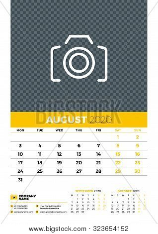 Wall Calendar Planner Template For August 2020. Week Starts On Monday. Typographic Design Template.