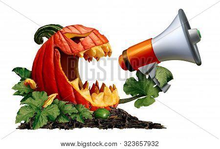 Halloween Jack O Lantern Pumpkin Announcer With A Scary Autumn Gourd Holding A Bullhorn Or Megaphone