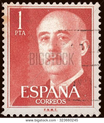 Spain - Circa 1954: Stamp Printed By Spain, Shows General Francisco Franco, Who Ruled Over Spain As
