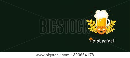 Horizontal Poster To Oktoberfest 2019 Festival. Beer Glass Top View. Vintage Color Vector Engraving