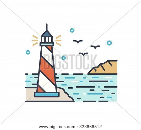 Shining Lighthouse Outline Vector Illustration. Colorful Picturesque Seascape With Navigational Aid