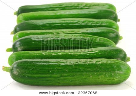 Group Baby Cucumbers.
