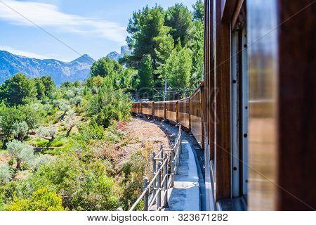 The Vintage Train From Soller To Palma De Mallorca