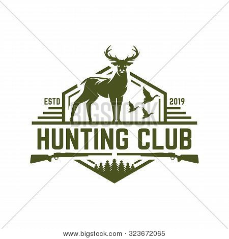 Deer Or Duck Hunting Logo, Hunting Badge Or Emblem For Hunting Club And Sports