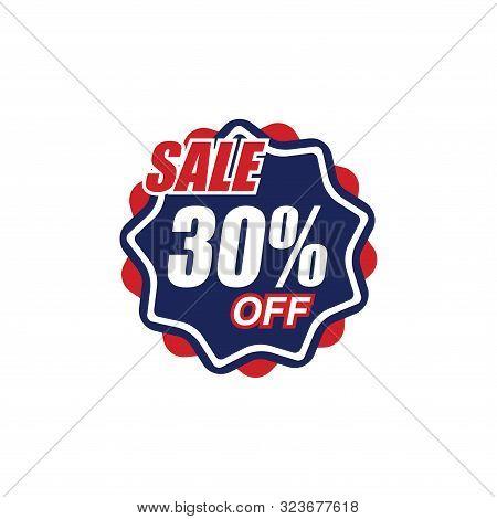 30% Sale Tag Vector Badge Template, 50% Sale Label Collection, Clearance Sale Sticker Emblem, Bargai