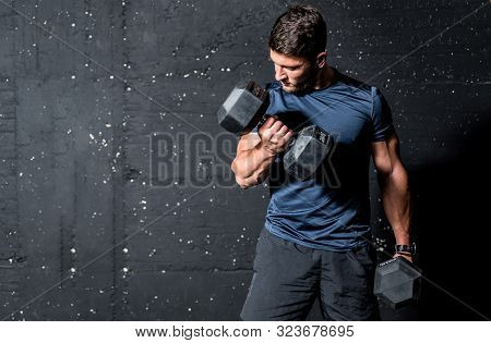 Dumbbell Weights Training, Young Strong Muscular Sweaty Man Biceps Muscle Workout Training With Heav