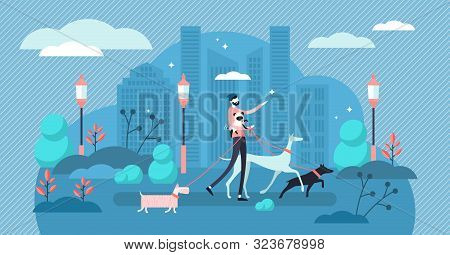 Dog Walking Vector Illustration. Flat Tiny Obsession Pet Care Exercise Person Concept. Urban Outdoor