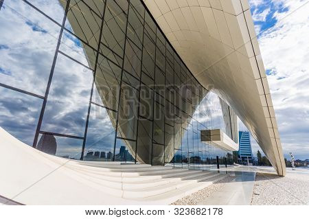Baku, Azerbaijan, Novemver 07.2016: Close-up View Of The Heydar Aliyev Center Designed By Architect