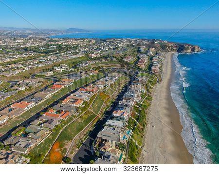 Aerial View Of Salt Creek And Monarch Beach Coastline. Small Neighborhood In Orange County City Of D
