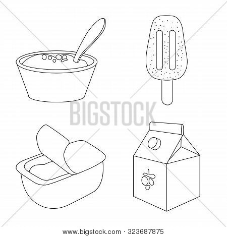 Vector Illustration Of Calcium And Food Sign. Set Of Calcium And Product Stock Symbol For Web.