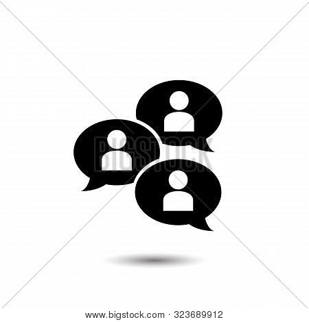 Group Chat Bubbles Or Forum Discussion With Multiple People Chatting Flat Vector Icon For Apps And W