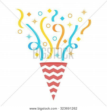 Birthday Exploding Party With Star, Ribbons, Striped Paper. Exploding Popper With Serpantin, Pulling