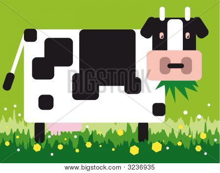 vector illustration for a square cow in a green field poster