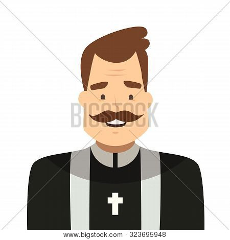 Catholic Priest Cartoon Style Isolated On White Background. Lutheran Priest In Vestment. Pastor Char
