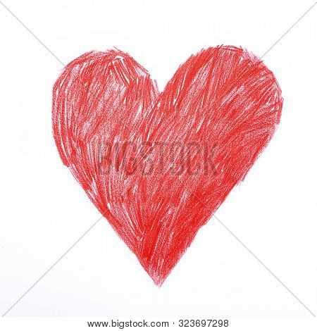 Heart. Red heart sigh rough childish pencil drawing. Love, declaration of love, health care, healthy lifestyle, prophylaxis of heart disease, cardiology, valentine's day concept.