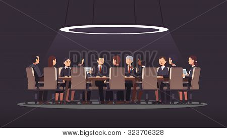 Shadow Government Meeting Talks At Big Round Table