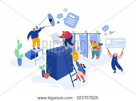Voting And Election Concept Template Design. Pre-election Campaign. Promotion Of People Candidate Ch