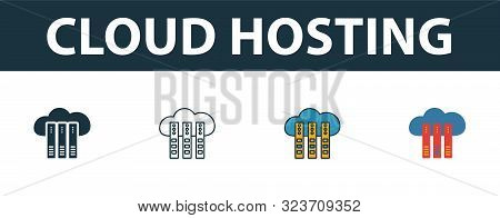 Cloud Hosting Icon Set. Four Simple Symbols In Diferent Styles From Web Hosting Icons Collection. Cr