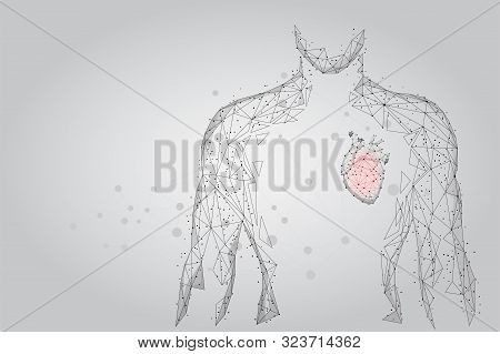 Medicine Low Poly Man Silhouette With Heart Consisting Of Points, Lines, And Shapes. Online Doctor T